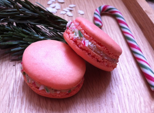 White Chocolate & Peppermint Candy Cane Macarons