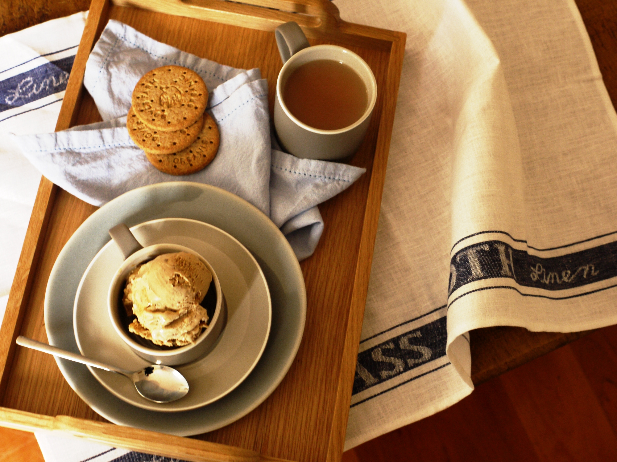 Tea & Biscuit Ice Cream with a Salty Caramel Swirl