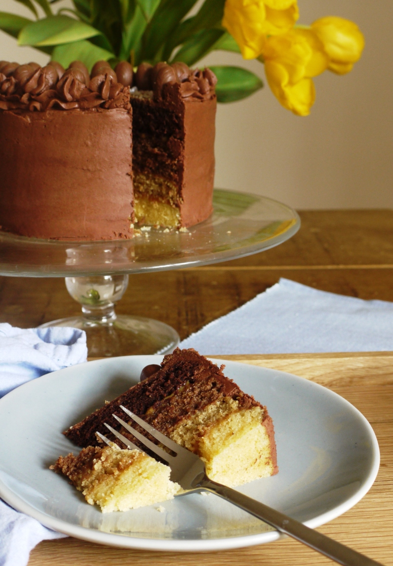 Chocolate & Caramel Layer Cake - thelittleloaf