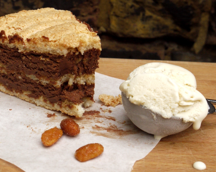 Chocolate peanut butter mousse layered with chewy peanut meringue