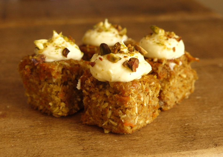 ... square is topped with lime mascarpone frosting & toasted pistachios