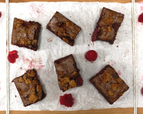Raspberry Amaretti Brownies