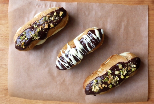 Chocolate Pistachio Éclairs
