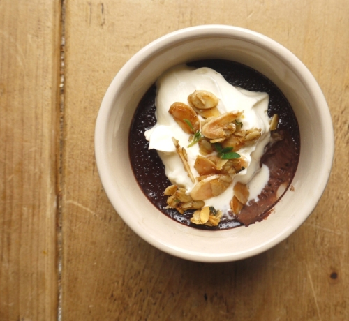 Maple Chocolate Pots with Olive Oil Thyme Crumble