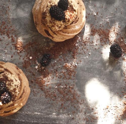 Chocolate Chestnut Meringue Nests